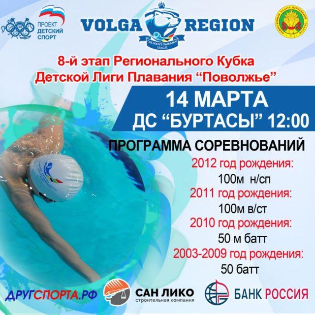 8-й этап Регионального Кубка «Детской Лиги Плавания «Поволжье» 2019-2020гг.
