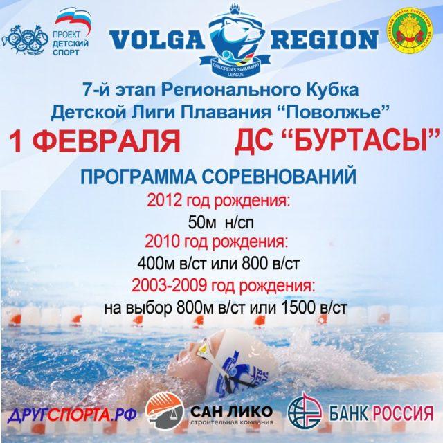 7-й этап Регионального Кубка «Детской Лиги Плавания «Поволжье» 2019-2020гг.
